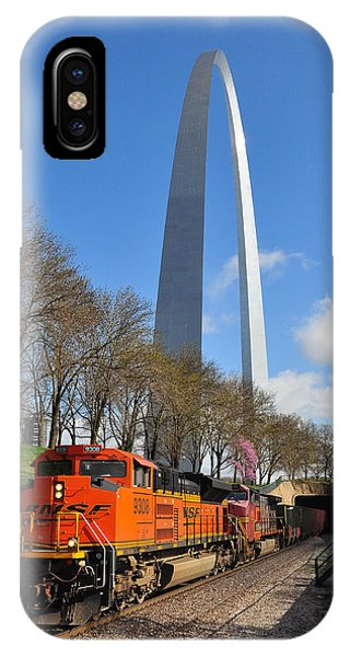 IPhone Case featuring the photograph Bnsf Ore Train And St. Louis Gateway Arch by Matthew Chapman