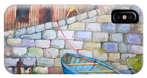Boat Along The Wall Phone Case by Maya Simonson