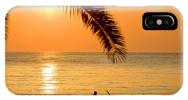 Boat At Sea Sunset Golden Color With Palm IPhone Case