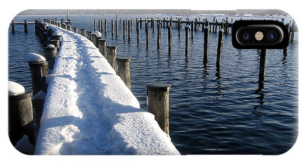 boat harbour at Lake Chiemsee in winter IPhone Case