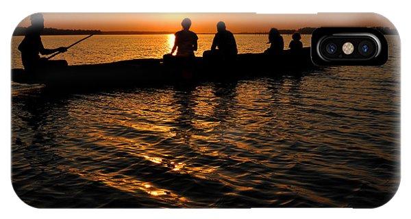 Boat In Sunset On Chilika Lake India IPhone Case
