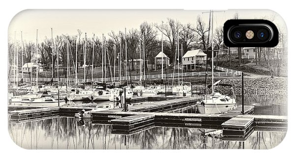 Boats And Cottages In B/w IPhone Case