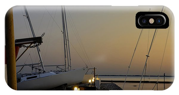 Boats Moored To Pier At Sunset IPhone Case