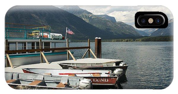 Boats On Lake Mcdonald IPhone Case