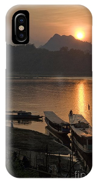 Boats On River By Luang Prabang Laos  IPhone Case