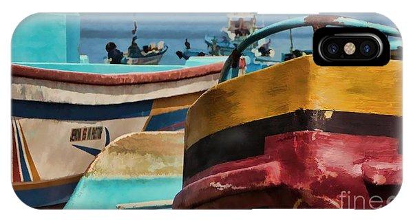 Boats On The Beach - Puerto Lopez - Ecuador IPhone Case