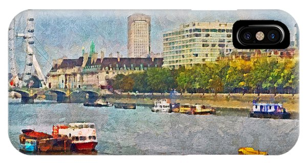 Boats On The River Thames And The London Eye IPhone Case