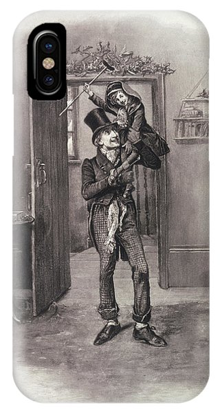 Poverty iPhone Case - Bob Cratchit And Tiny Tim by Frederick Barnard