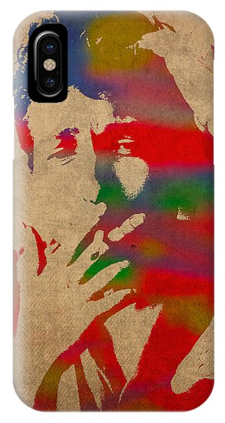Bob Dylan iPhone Case - Bob Dylan Watercolor Portrait On Worn Distressed Canvas by Design Turnpike
