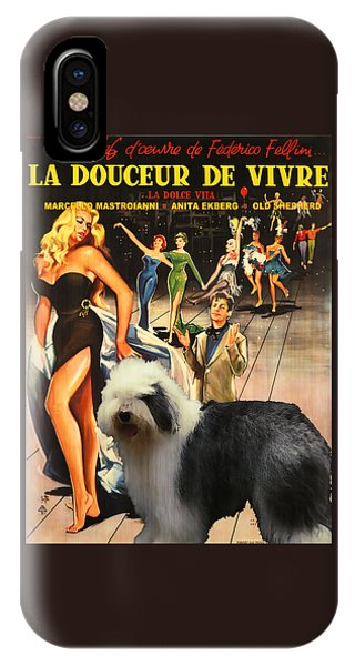 Bobtail -  Old English Sheepdog Art Canvas Print - La Dolce Vita Movie Poster IPhone Case