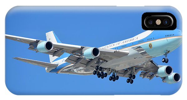 Air Force One Boeing Vc-25a 92-9000 Landing Phoenix Sky Harbor March 13 2015 IPhone Case