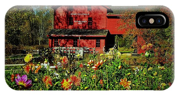 Bonneyville Grist Mill From Dahlia Garden Phone Case by Rory Cubel