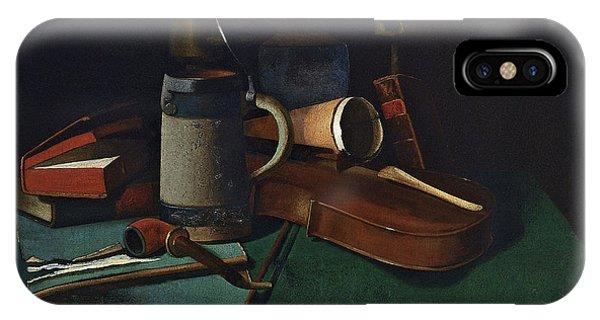 Violin iPhone X Case - Books Mug Pipe And Violin by John Frederick Peto