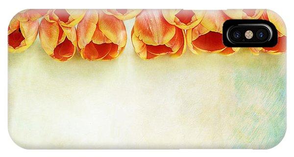 Border Of Orange Tulips IPhone Case