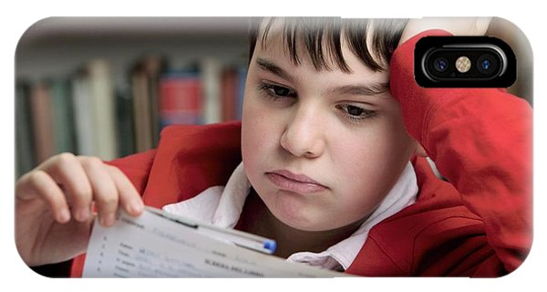Classroom iPhone Case - Bored Boy Not Doing His Homework by Mauro Fermariello/science Photo Library