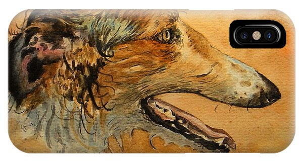 Watercolor Pet Portraits iPhone Case - Borzoi Dog by Juan  Bosco