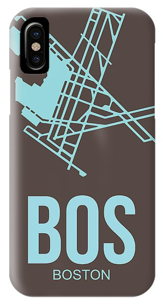 Travel iPhone Case - Bos Boston Airport Poster 2 by Naxart Studio