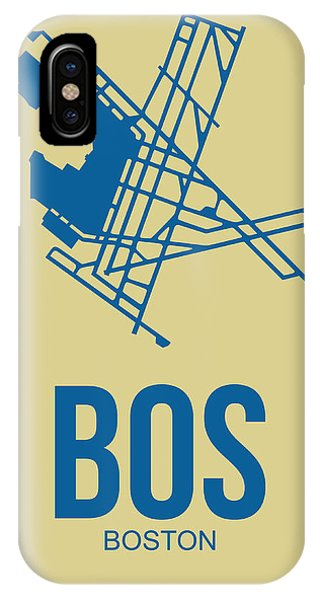 Massachusetts iPhone Case - Bos Boston Airport Poster 3 by Naxart Studio