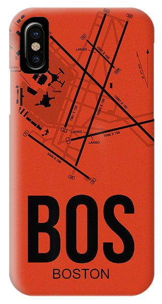 Minimalist iPhone Case - Boston Airport Poster 2 by Naxart Studio