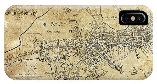 Schooner iPhone Case - Boston Bonner Map 1722 by Daniel Hagerman