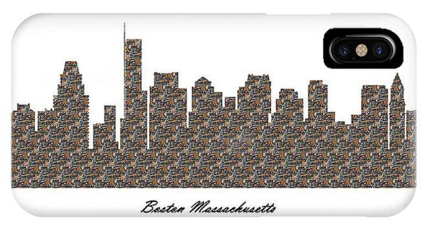 Boston Massachusetts 3d Stone Wall Skyline IPhone Case