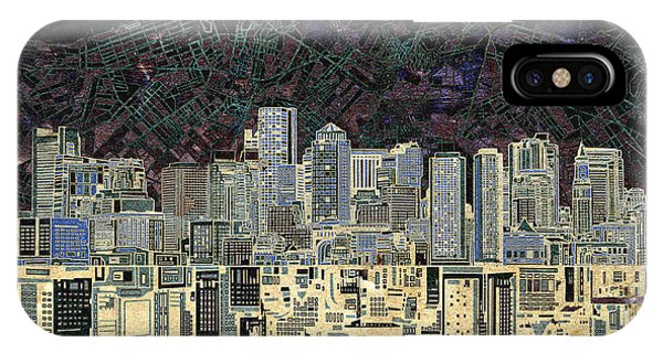 Boston Skyline Abstract Antique IPhone Case