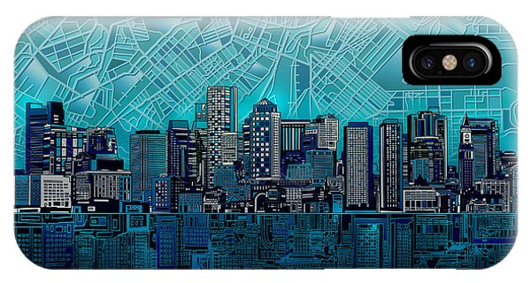 Abstract Digital iPhone Case - Boston Skyline Abstract Blue by Bekim Art