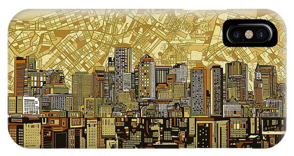 Boston Skyline Abstract Brown IPhone Case