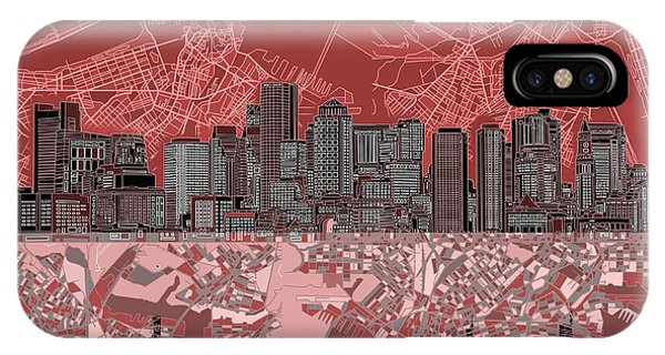 Boston Skyline Abstract Red IPhone Case