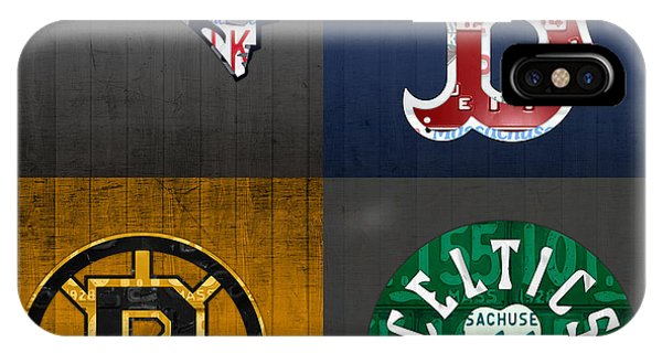 Red Sox iPhone Case - Boston Sports Fan Recycled Vintage Massachusetts License Plate Art Patriots Red Sox Bruins Celtics by Design Turnpike