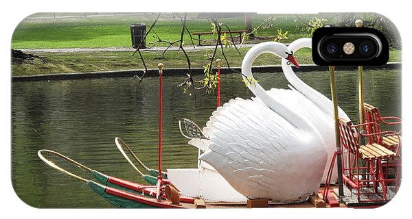 Swan iPhone Case - Boston Swan Boats by Barbara McDevitt