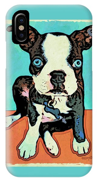 Boston Terrier - Blue IPhone Case