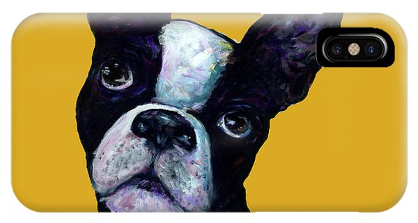 Boston Terrier On Yellow IPhone Case
