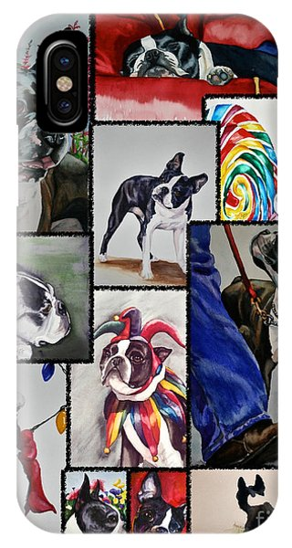 Boston Terrier Watercolor Collage IPhone Case