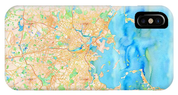 IPhone Case featuring the digital art Boston Watercolor Map by Joy McKenzie