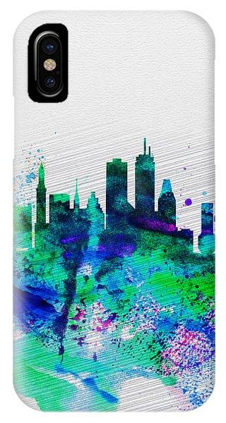 Massachusetts iPhone Case - Boston Watercolor Skyline by Naxart Studio