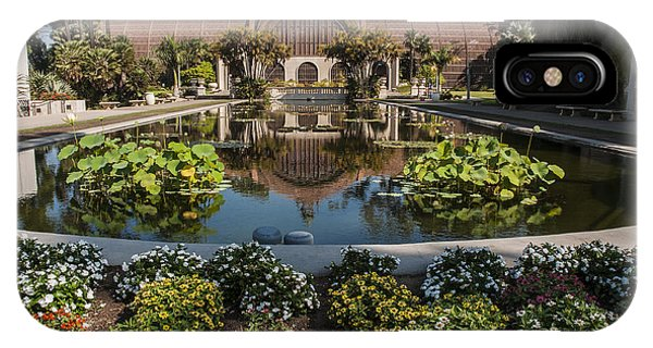 Botanical Building Reflecting In The Lily Pond At Balboa Park IPhone Case