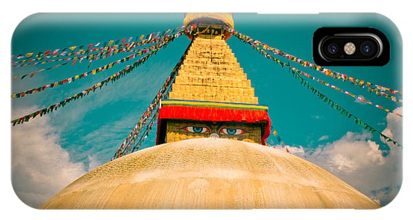 Boudhanath Stupa In Nepal With Blue Sky IPhone Case