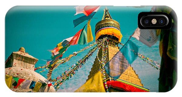 Boudnath Stupa In Kathmandu Nepal IPhone Case