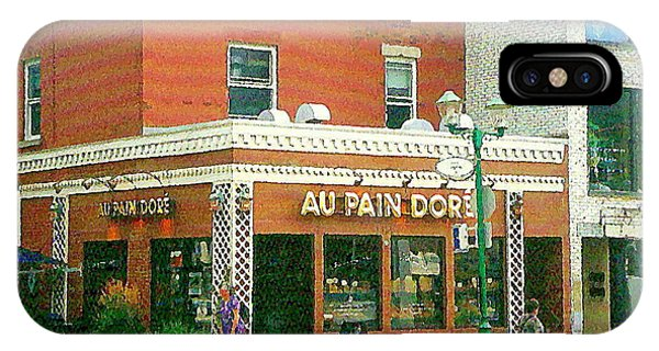 Boulangerie Au Pain Dore Corner Store Paintings French Bakery Shops  Montreal Depanneur Art Cspandau IPhone Case