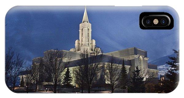 Bountiful Utah Temple In Winter IPhone Case