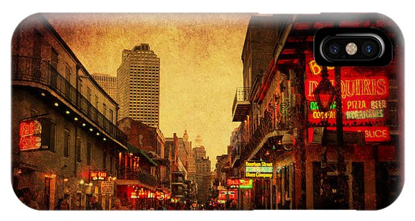 IPhone Case featuring the photograph Bourbon Street Grunge by Judy Hall-Folde