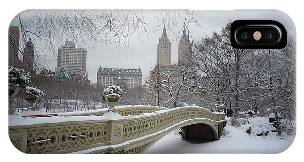 City iPhone Case - Bow Bridge Central Park In Winter  by Vivienne Gucwa