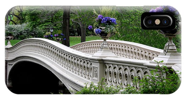 Bow Bridge Flower Pots - Central Park N Y C IPhone Case