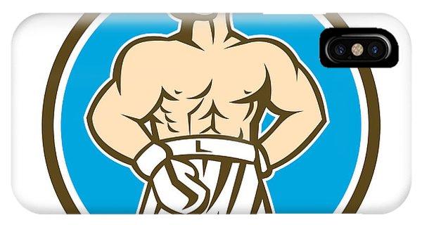 Boxer Champion Shouting Circle Retro IPhone Case
