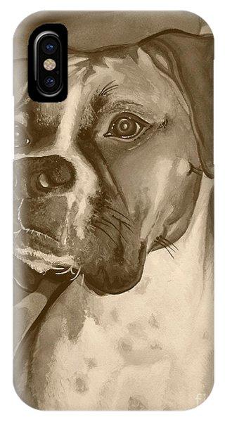 Boxer Dog Sepia Print IPhone Case