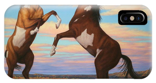 Pear iPhone Case - Boxing Horses by James W Johnson