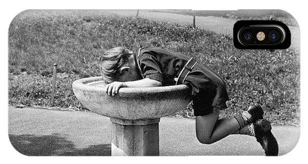 Boys iPhone Case - Boy Drinking From Fountain by Underwood Archives