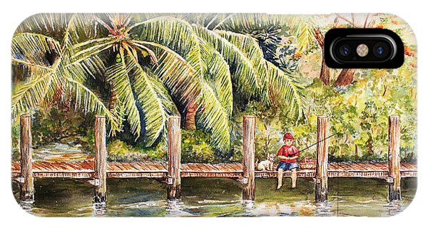 Boy Fishing With Dog IPhone Case