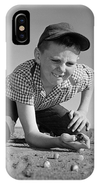Boy Shooting Marbles, C.1950-60s IPhone Case